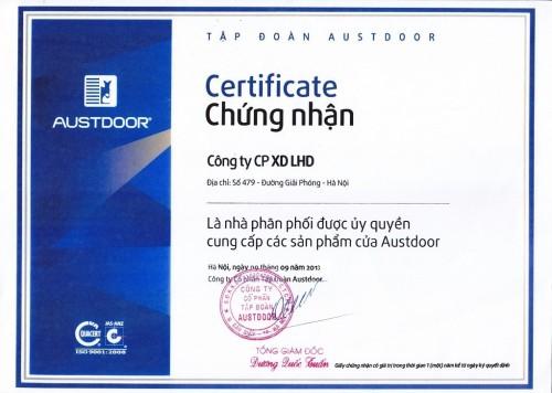 Giấy chứng nhận sản phẩm công ty LHD: đại lý cấp 1 của cửa cuốn Austdoor miền Bắc